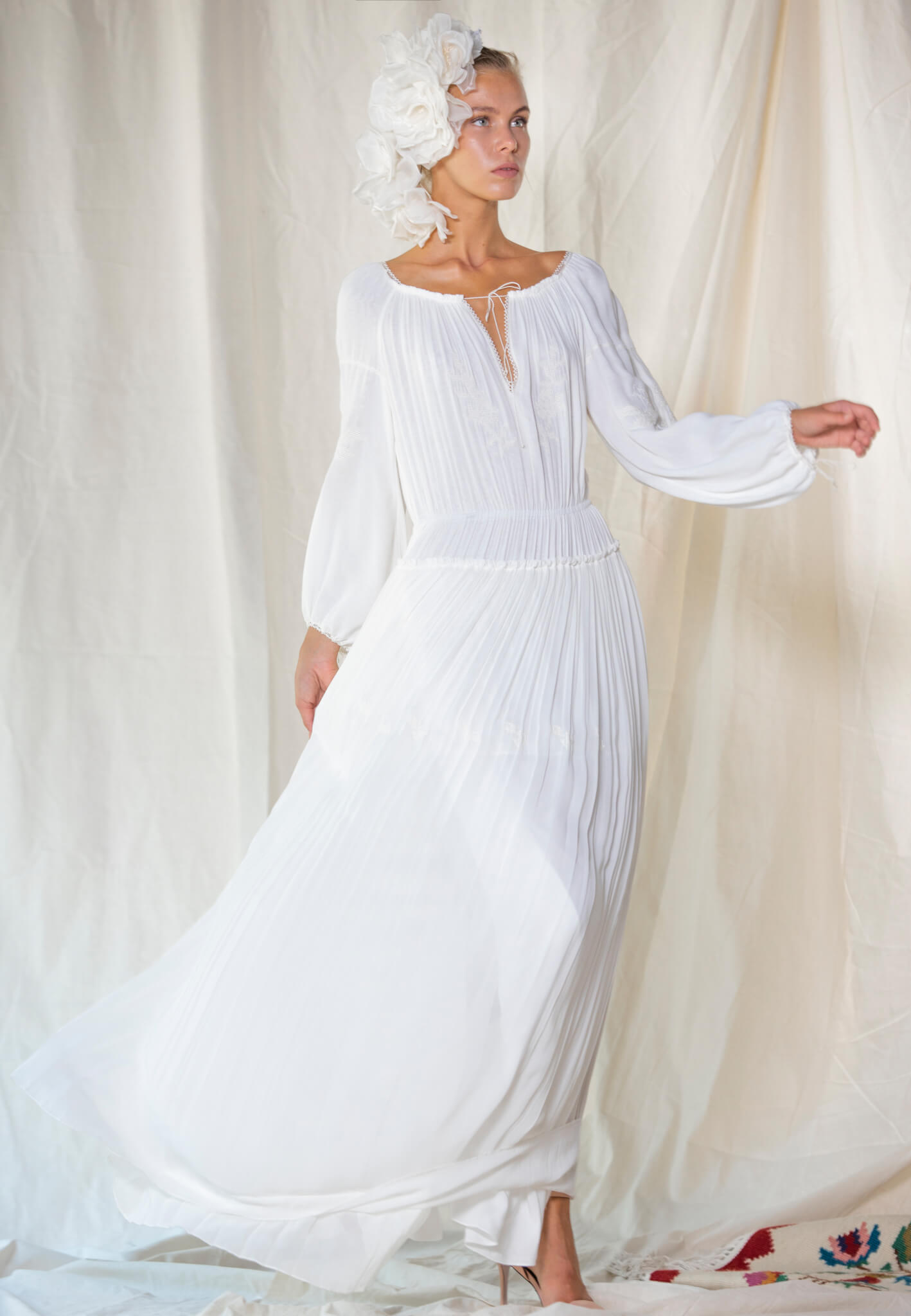 Bride silk dress with embroidery