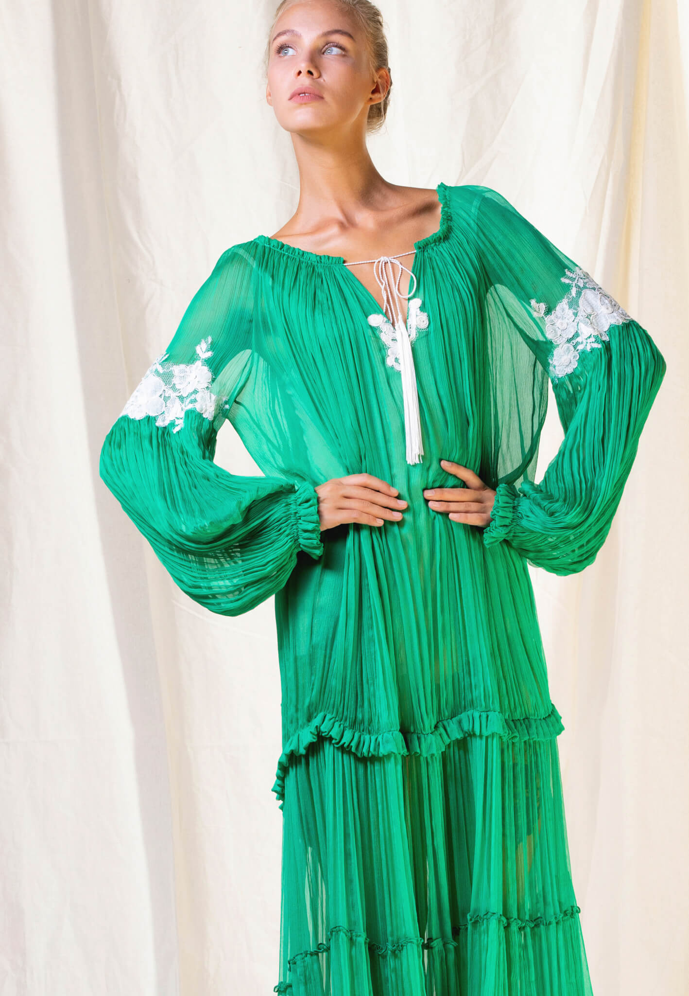 Green Silk dress with embroidery
