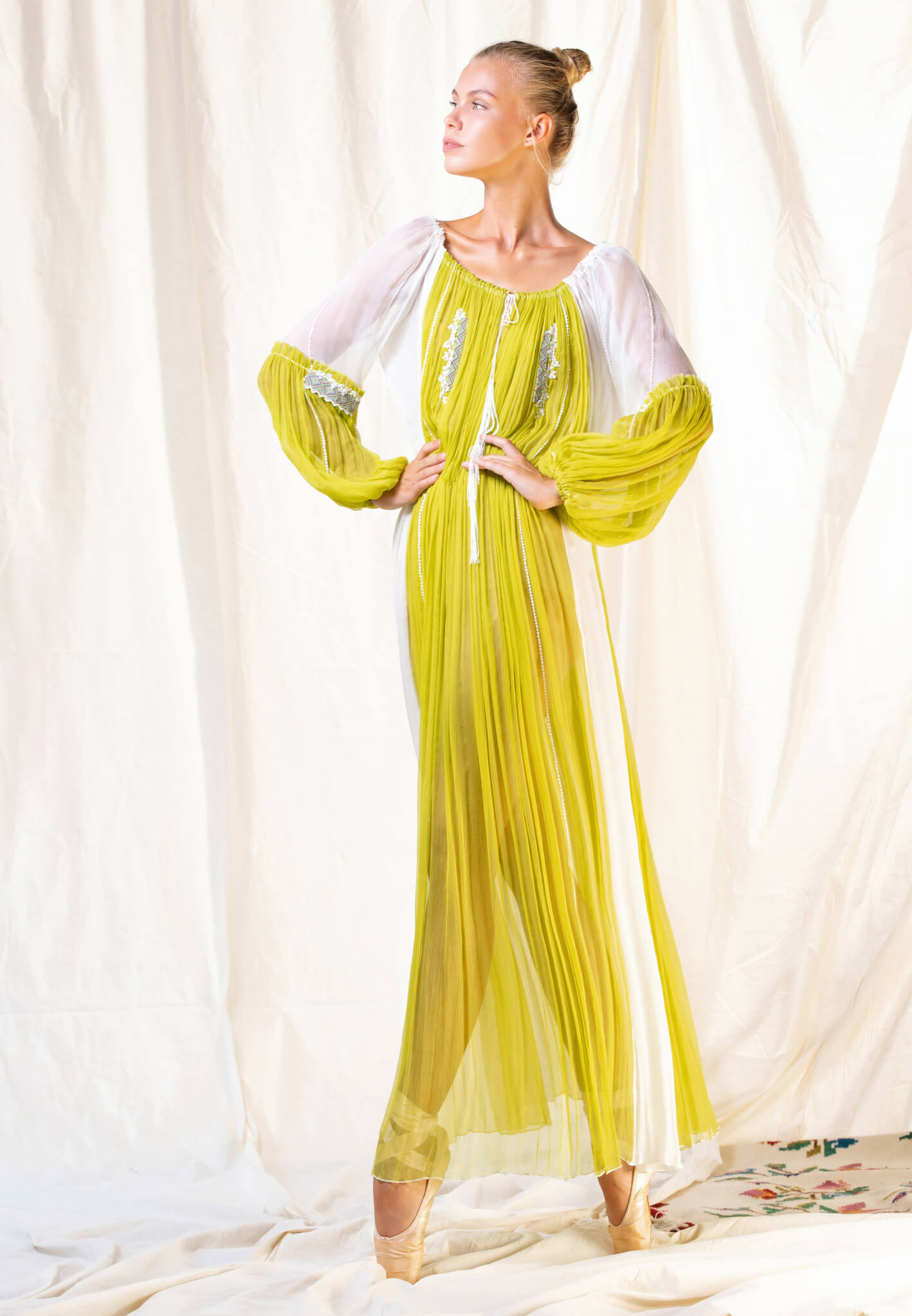 Yellow Silk dress with embroidery