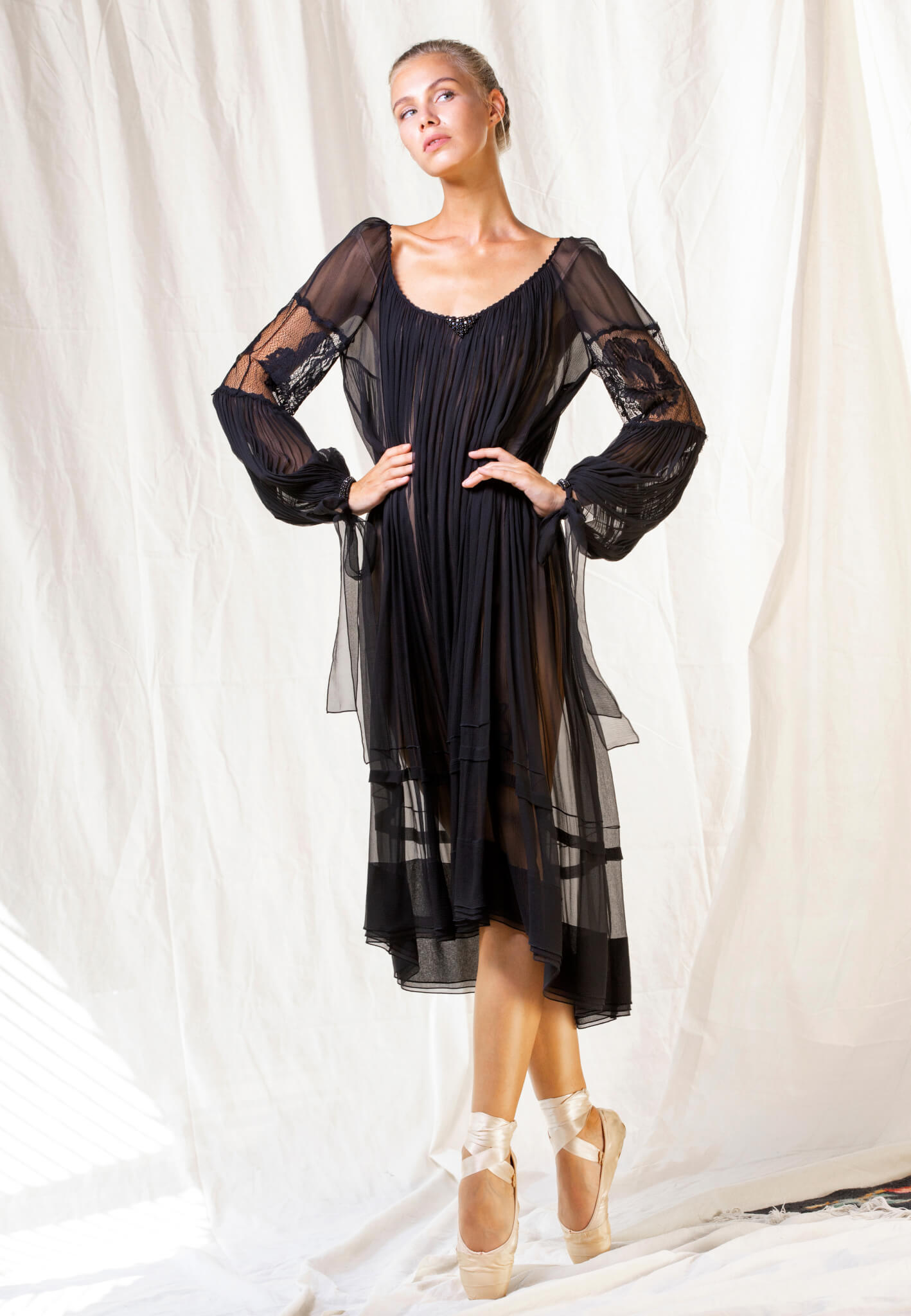 black silk dress with lace