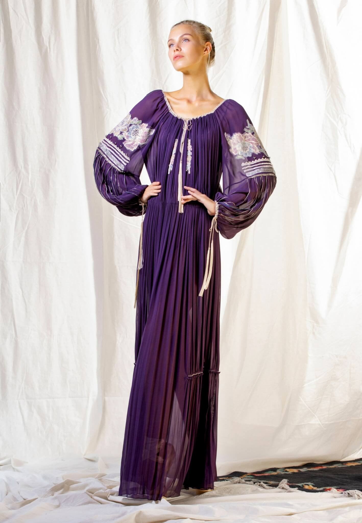 Purple silk dress with embroidery