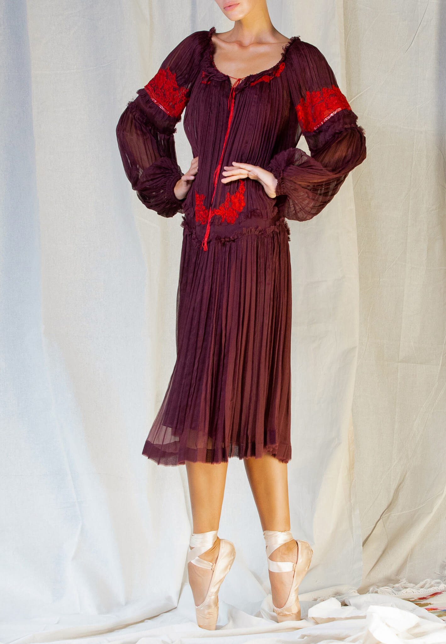 Bordo Silk dress