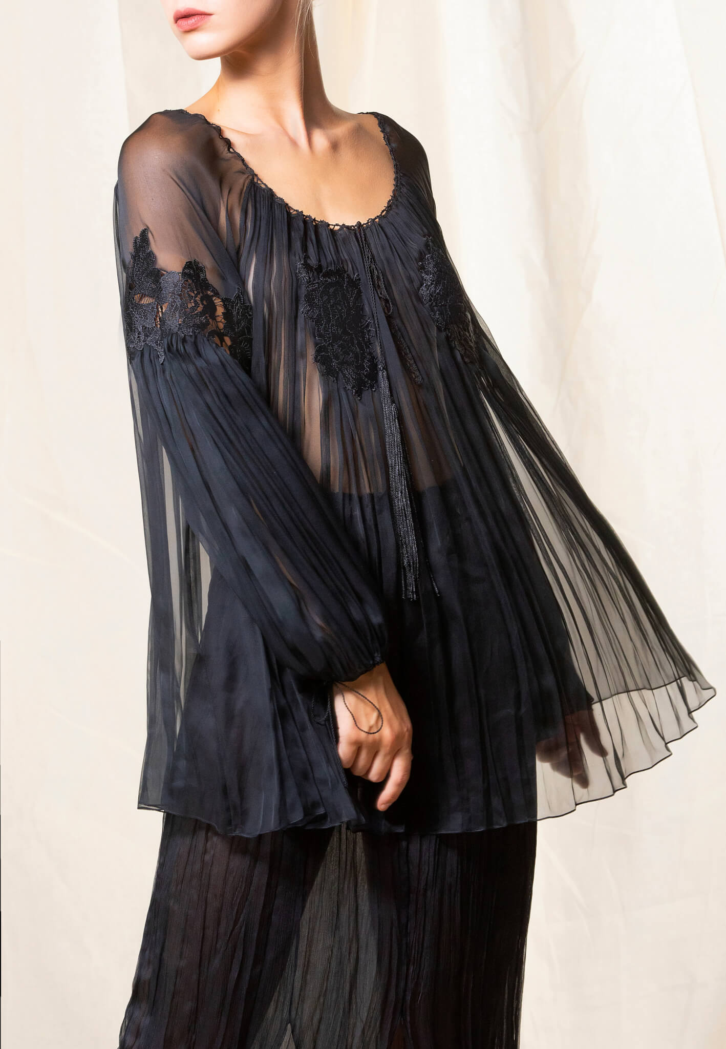 Black Silk blouse with lace