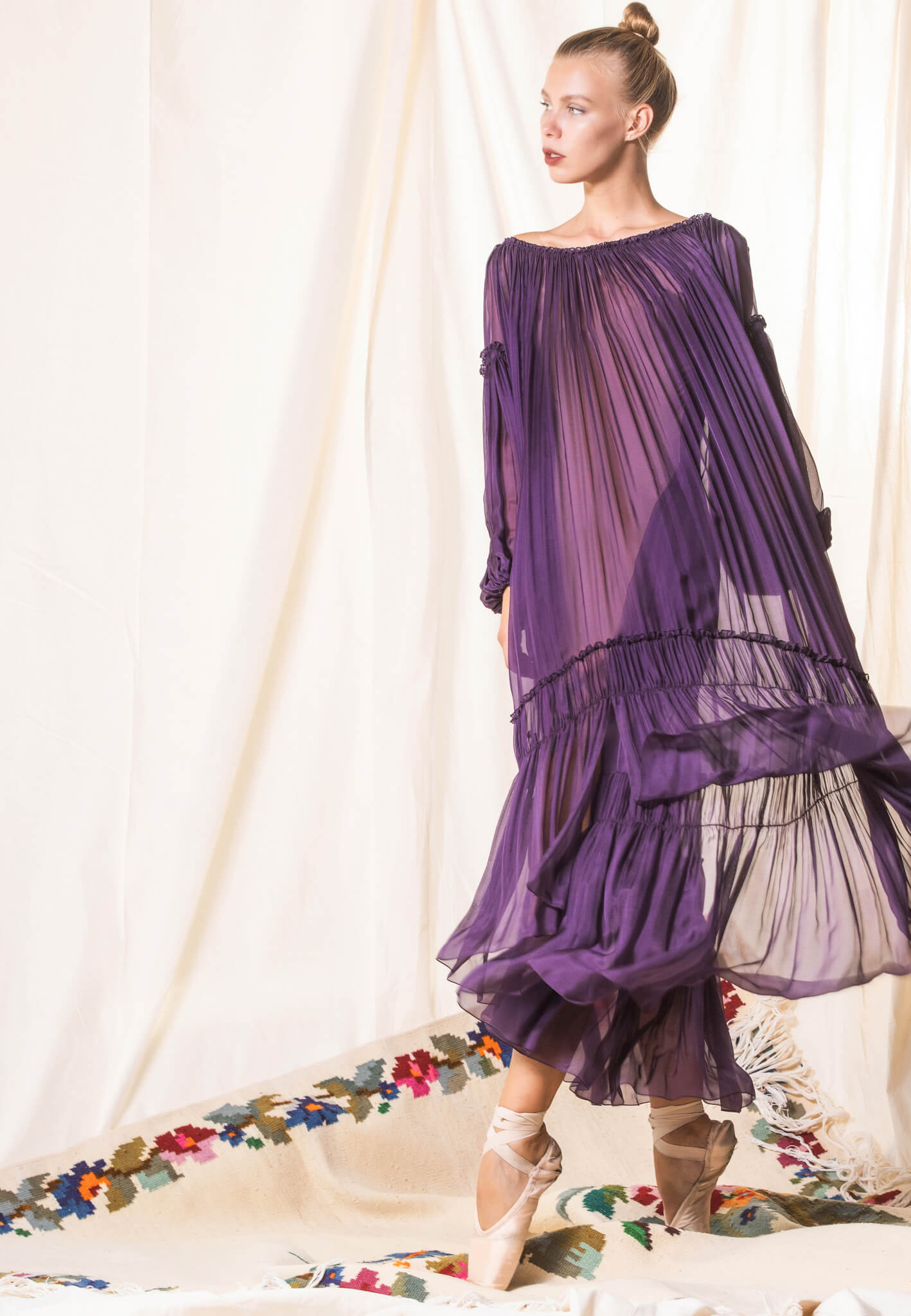 Purple silk dress with lace