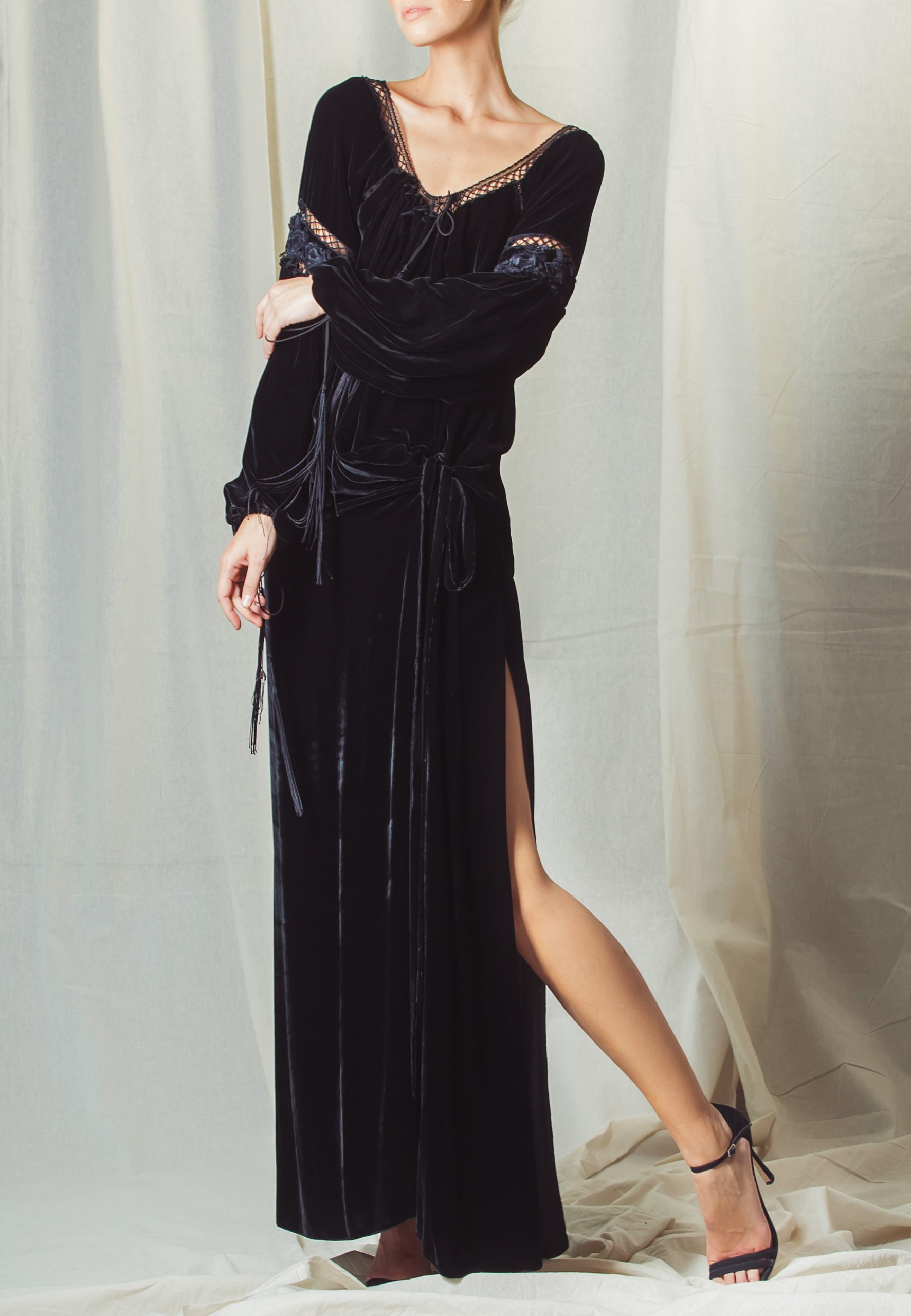 Black Velour dress with lace