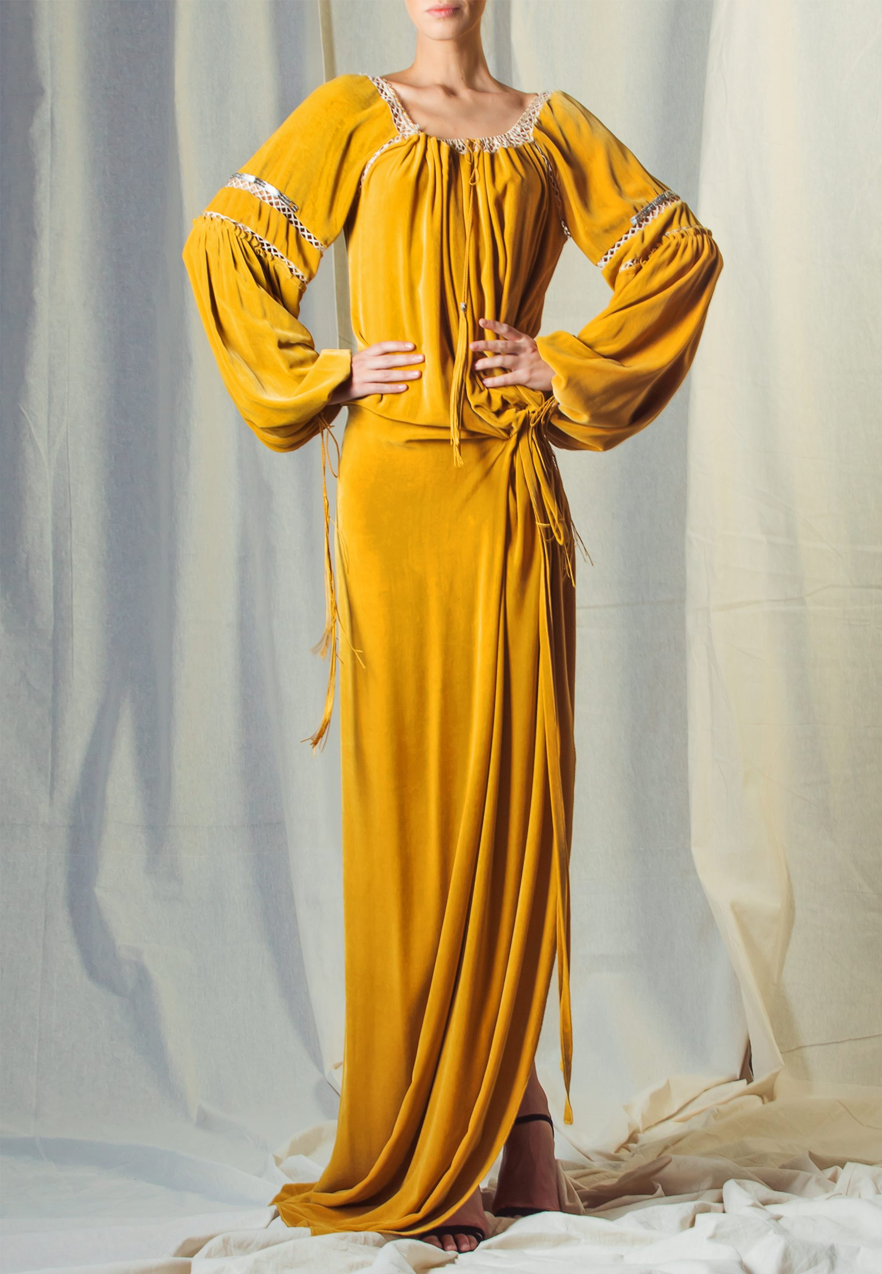 Yellow Velour dress with lace