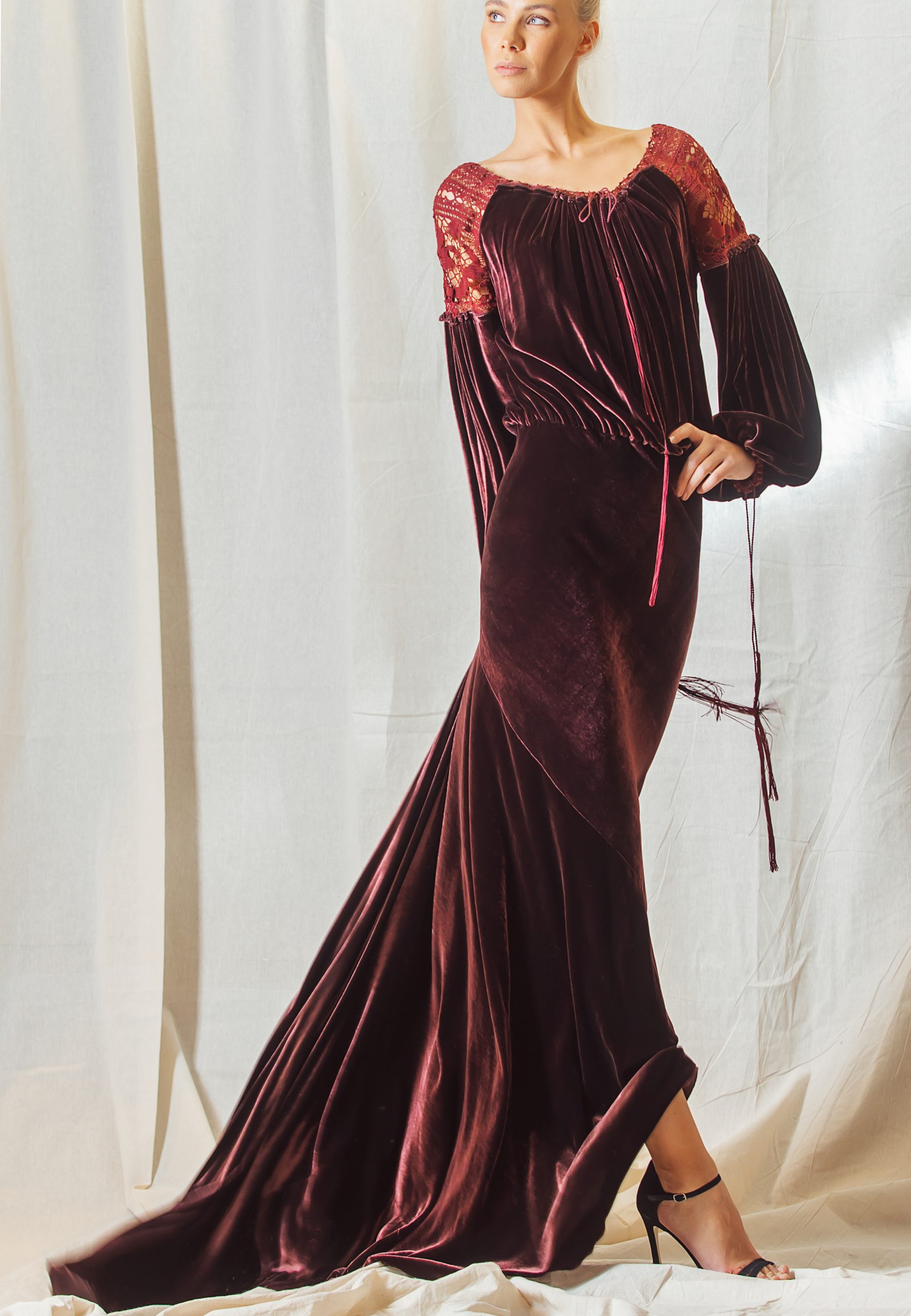 Burgundy Velour dress with lace