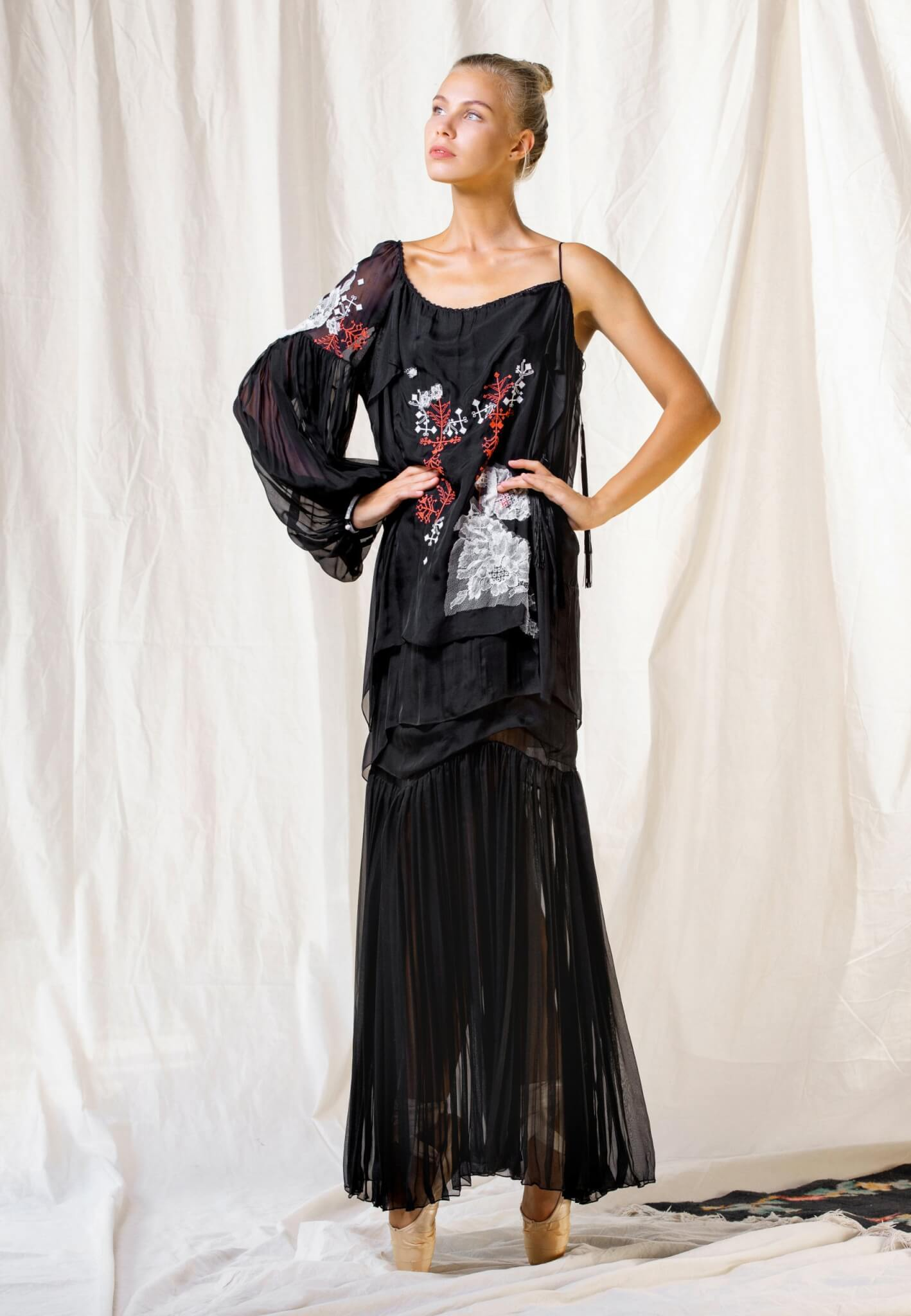 Black silk dress with embroidery