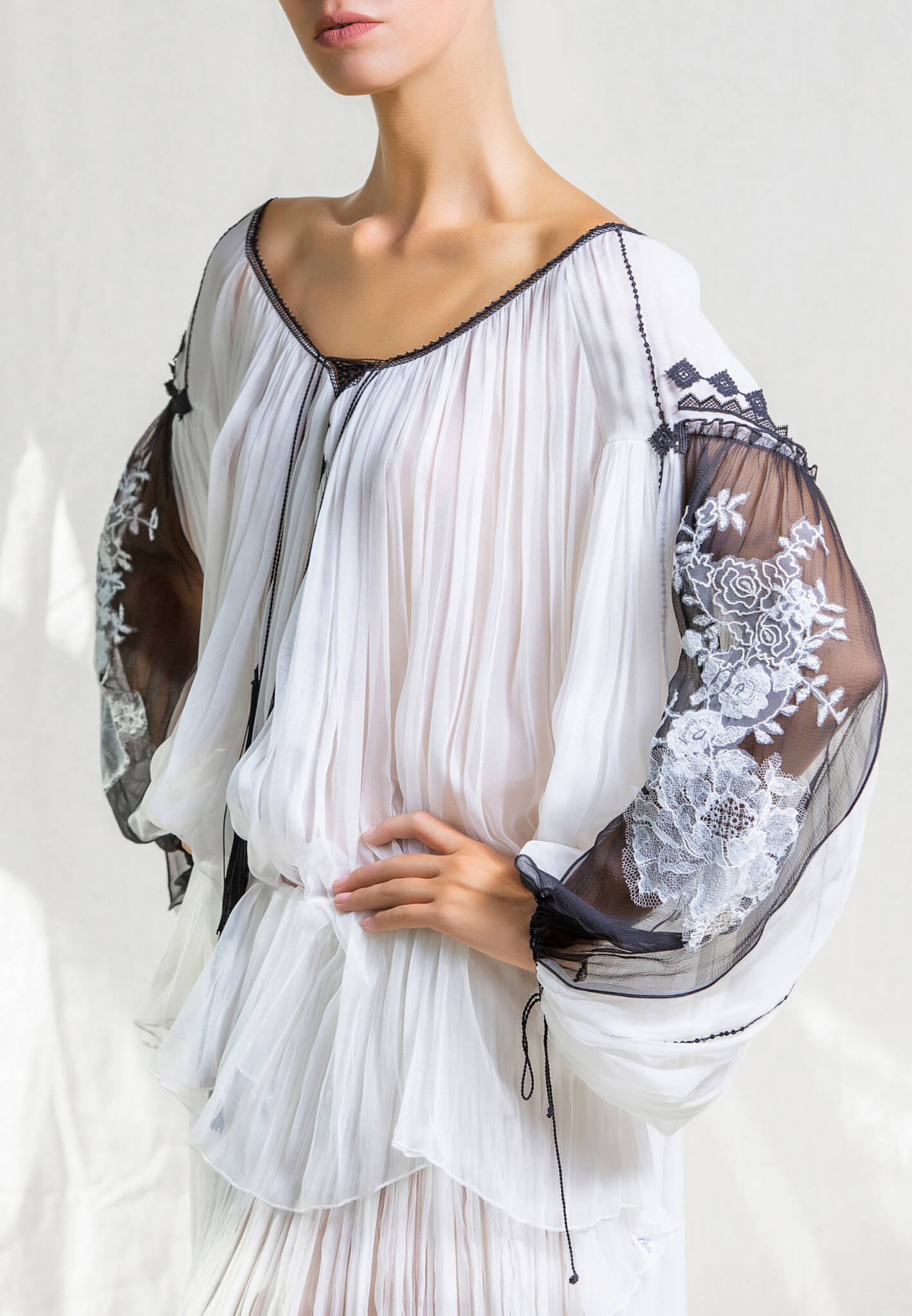 Silk blouse with lace and embroidery