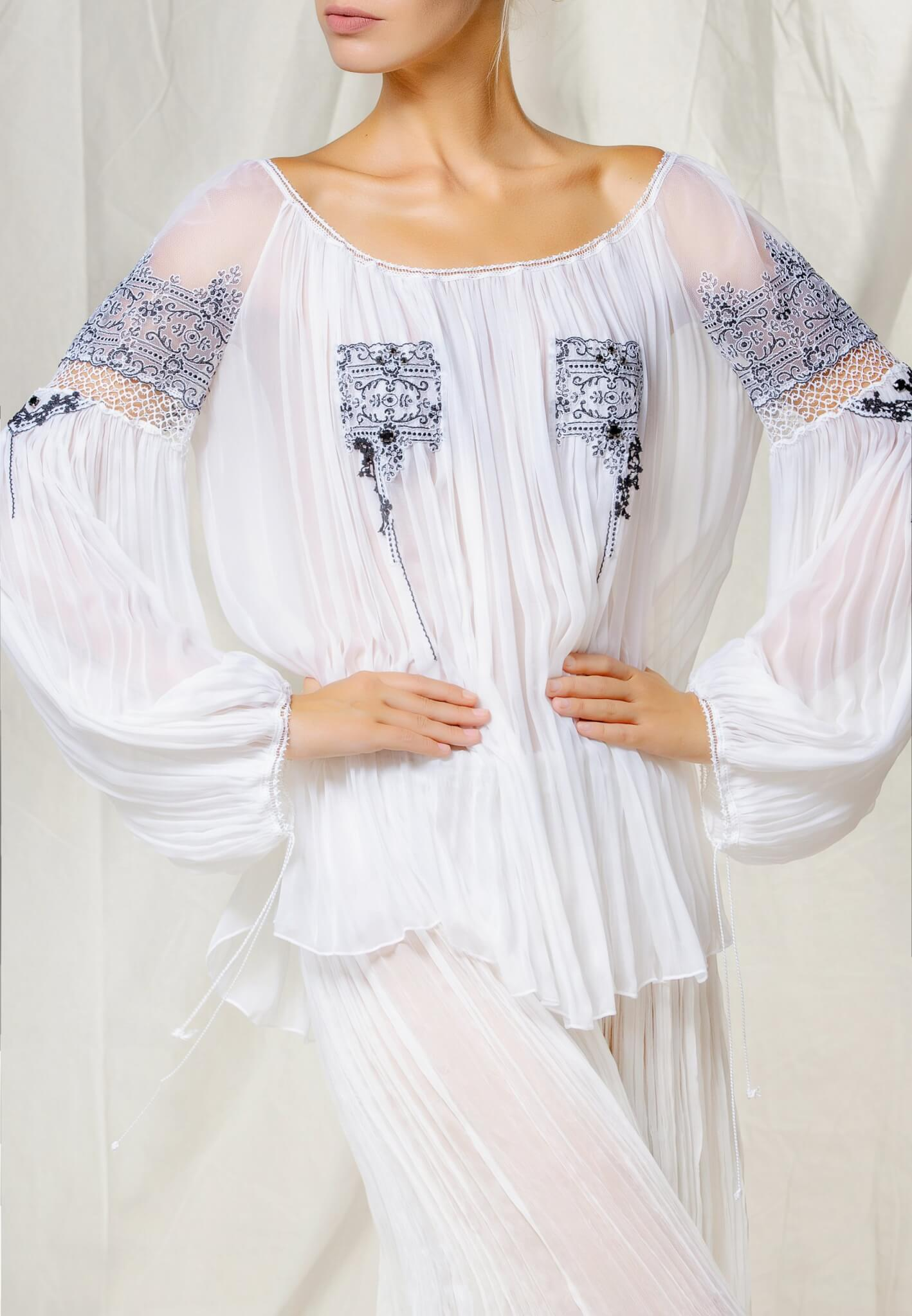 Silk blouse with lace and beads