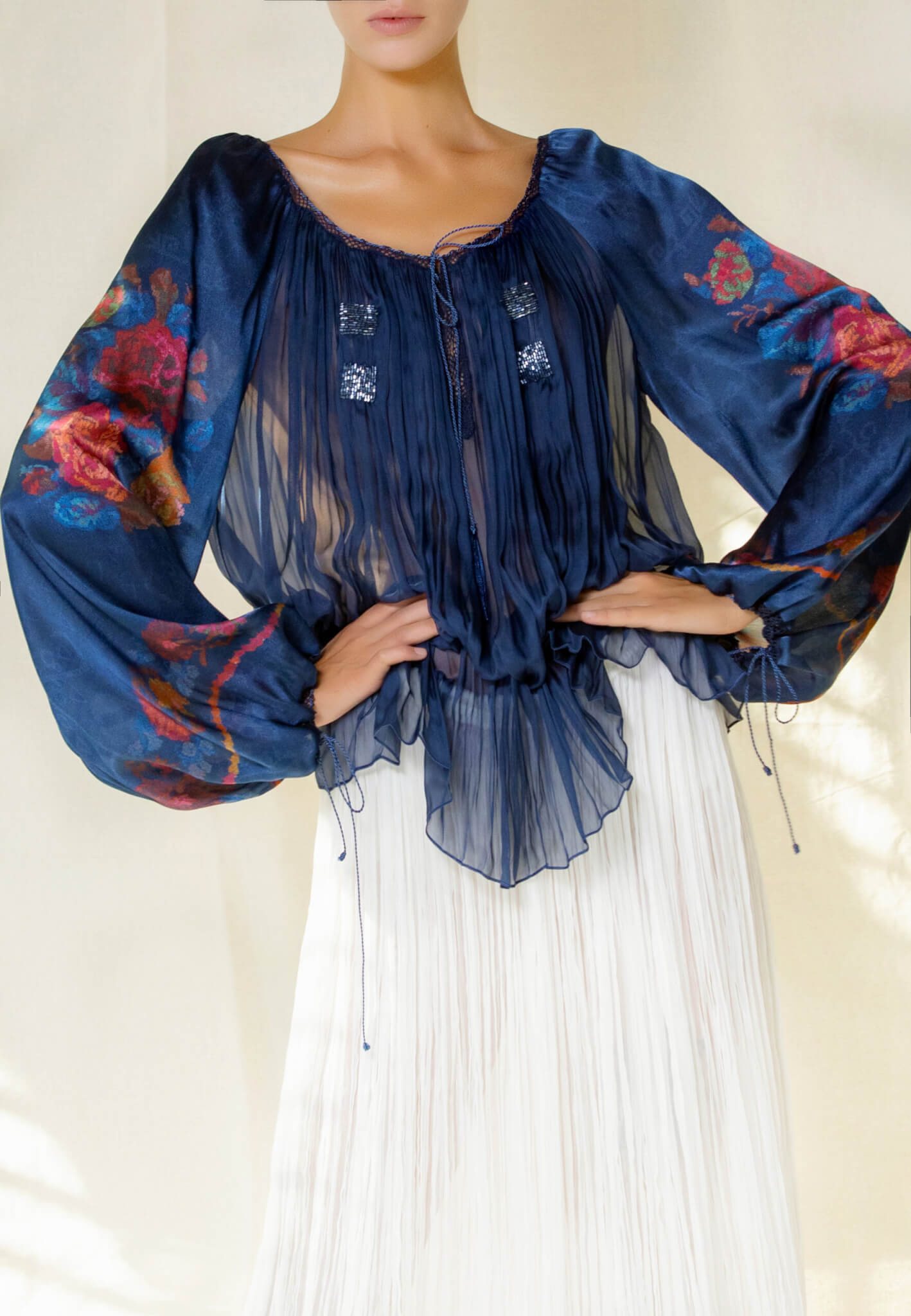 Silk blouse with print and beads