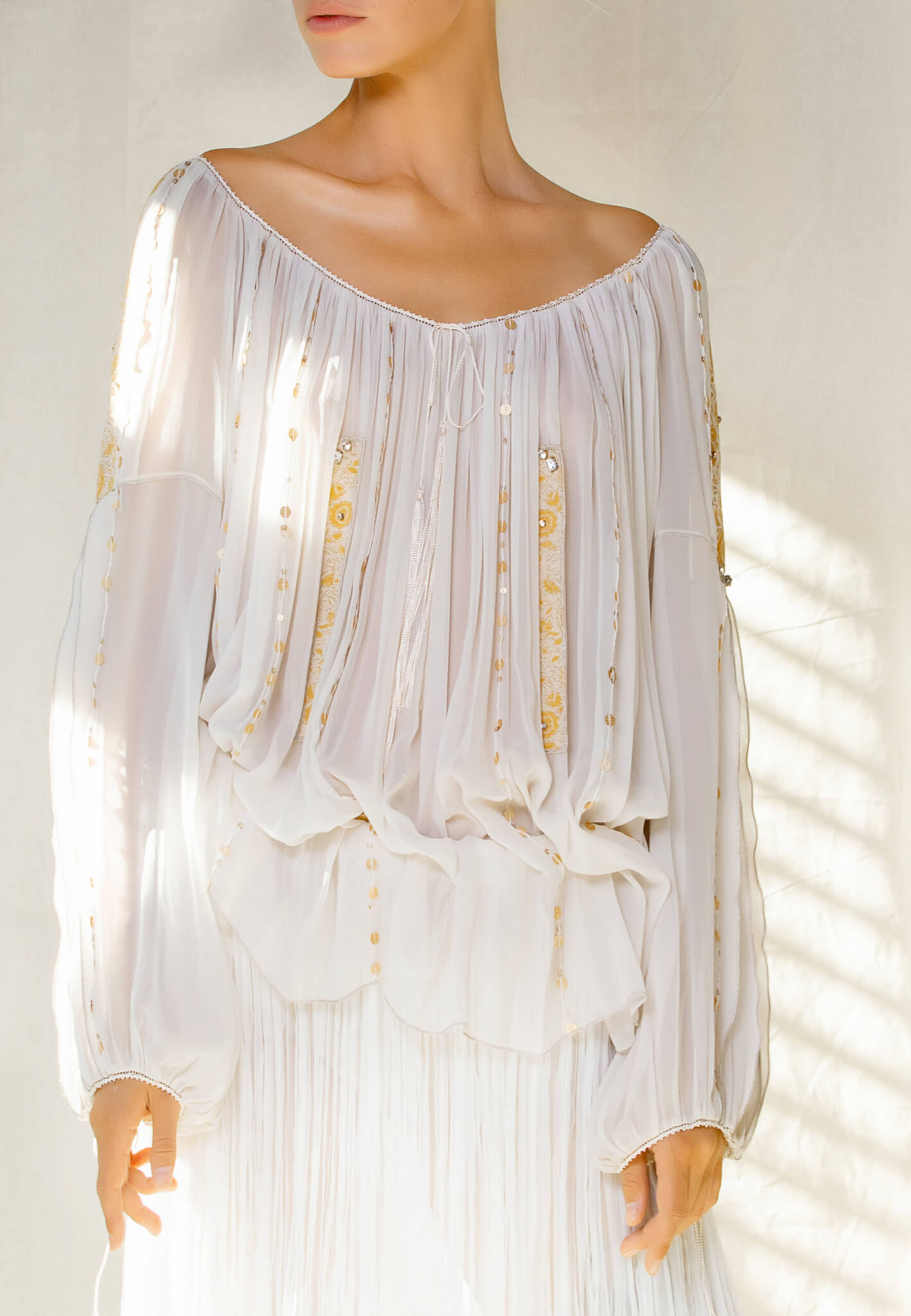 Silk blouse with lace and sequins