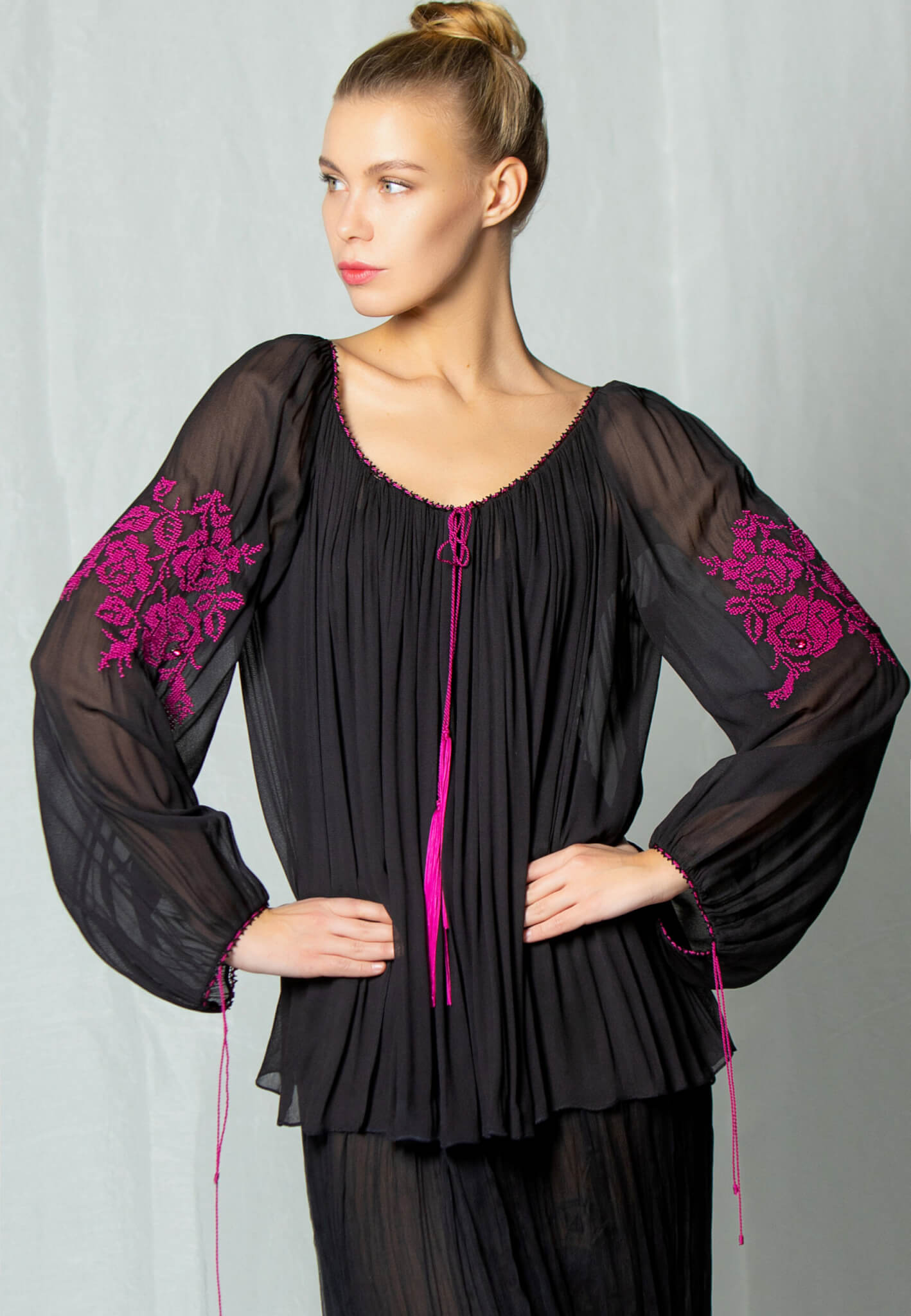 Black Silk blouse with embroidery