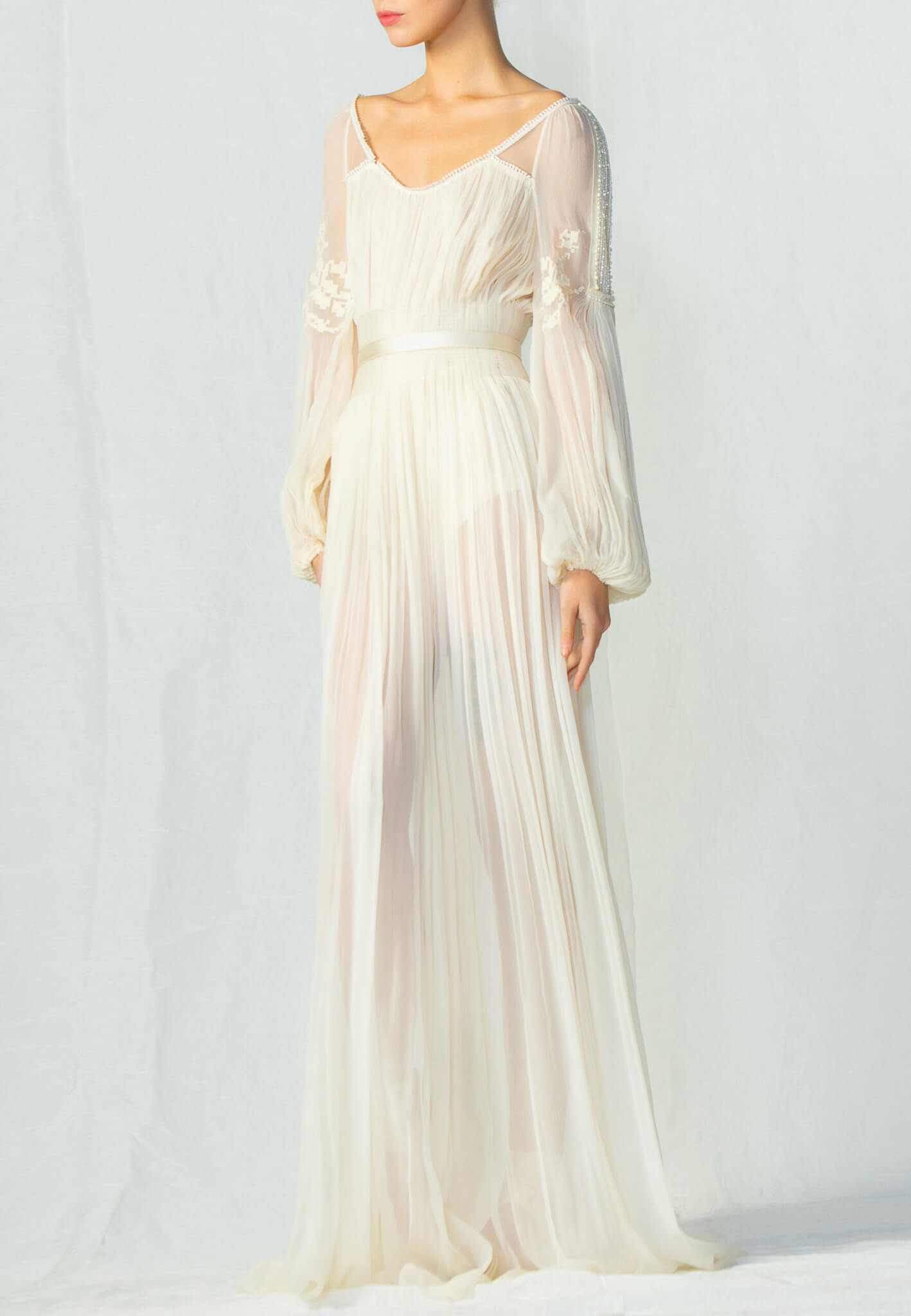 Bridal silk dress with embroidery