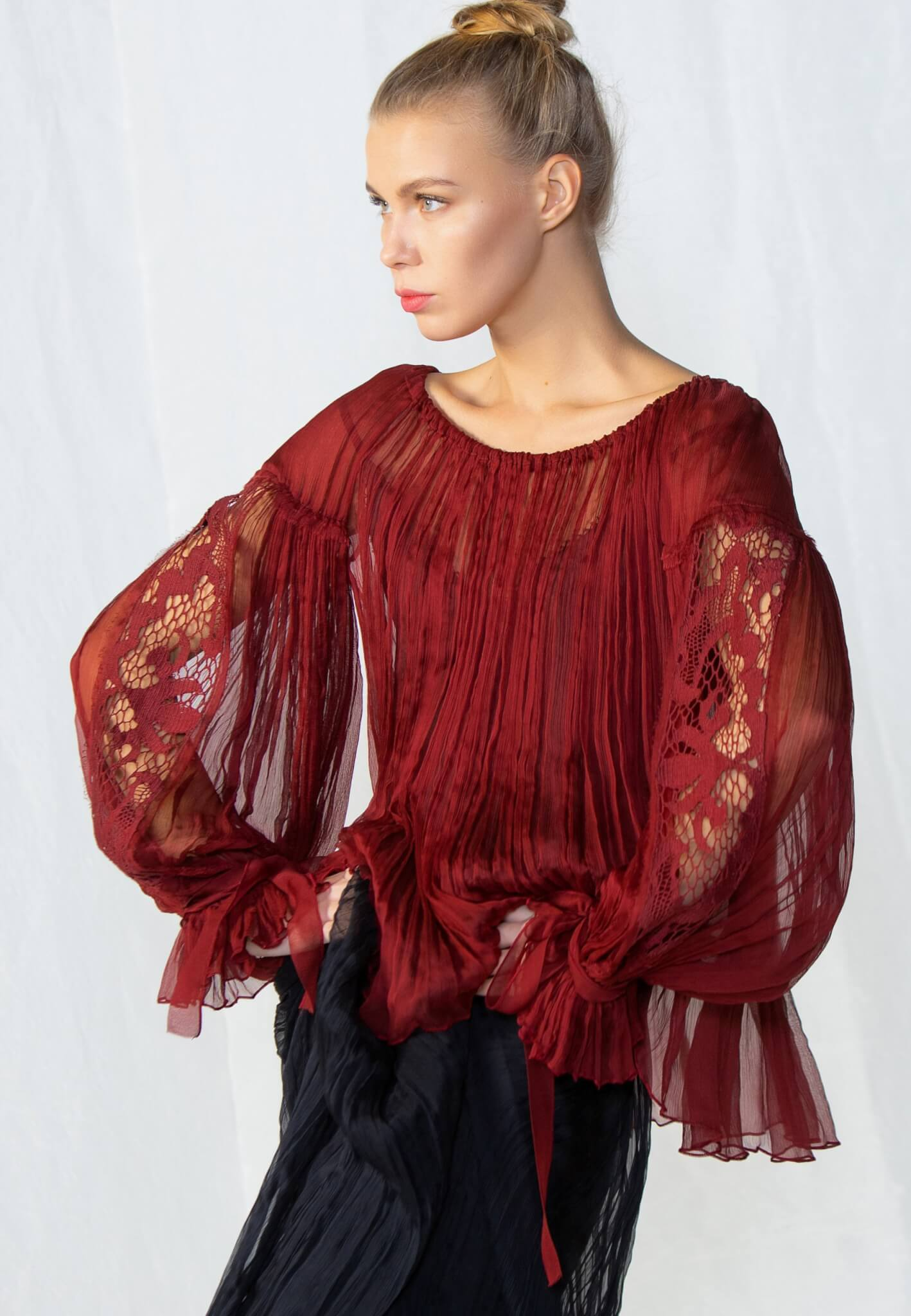 Red silk blouse with lace