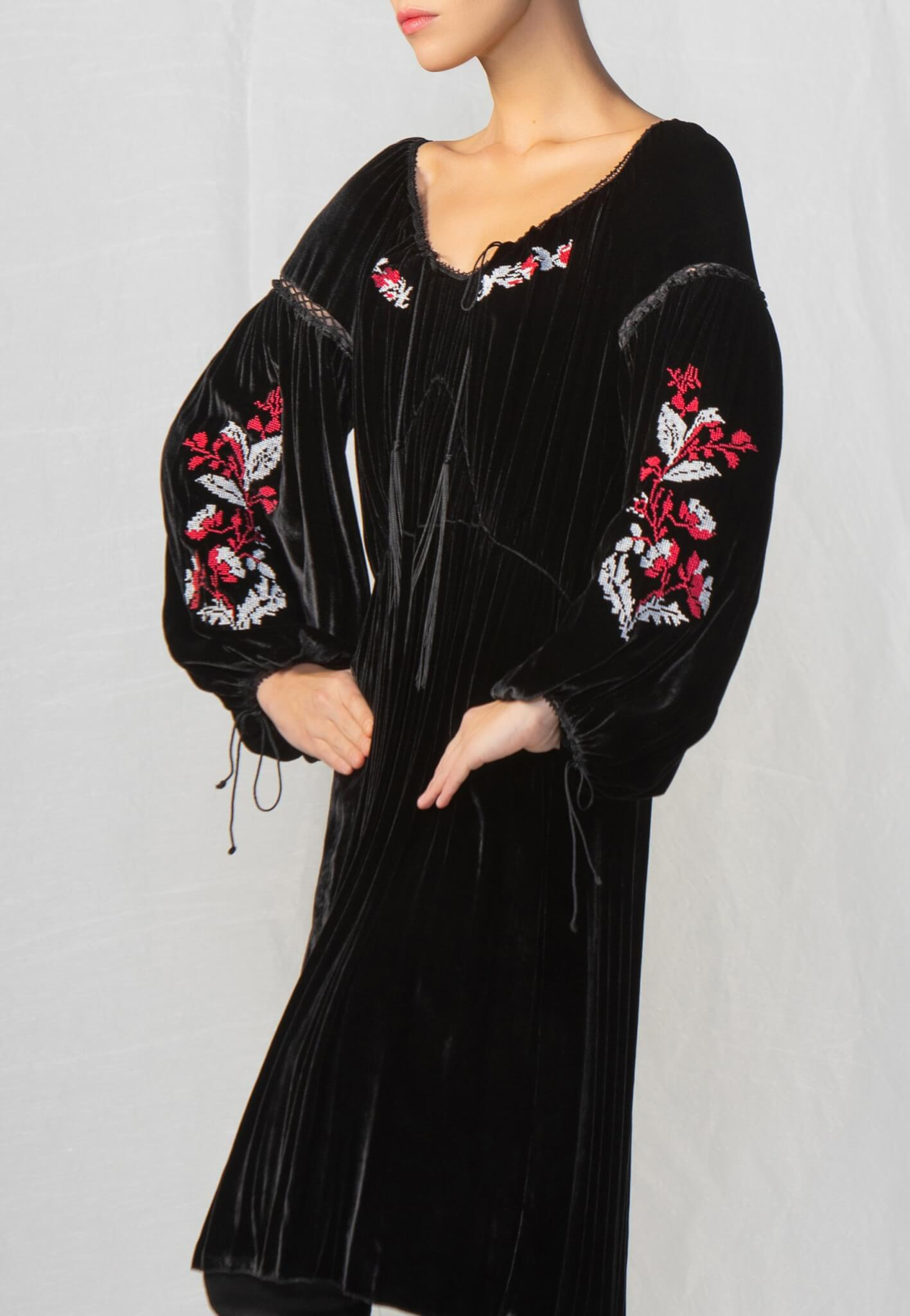 Black velour dress with embroidery