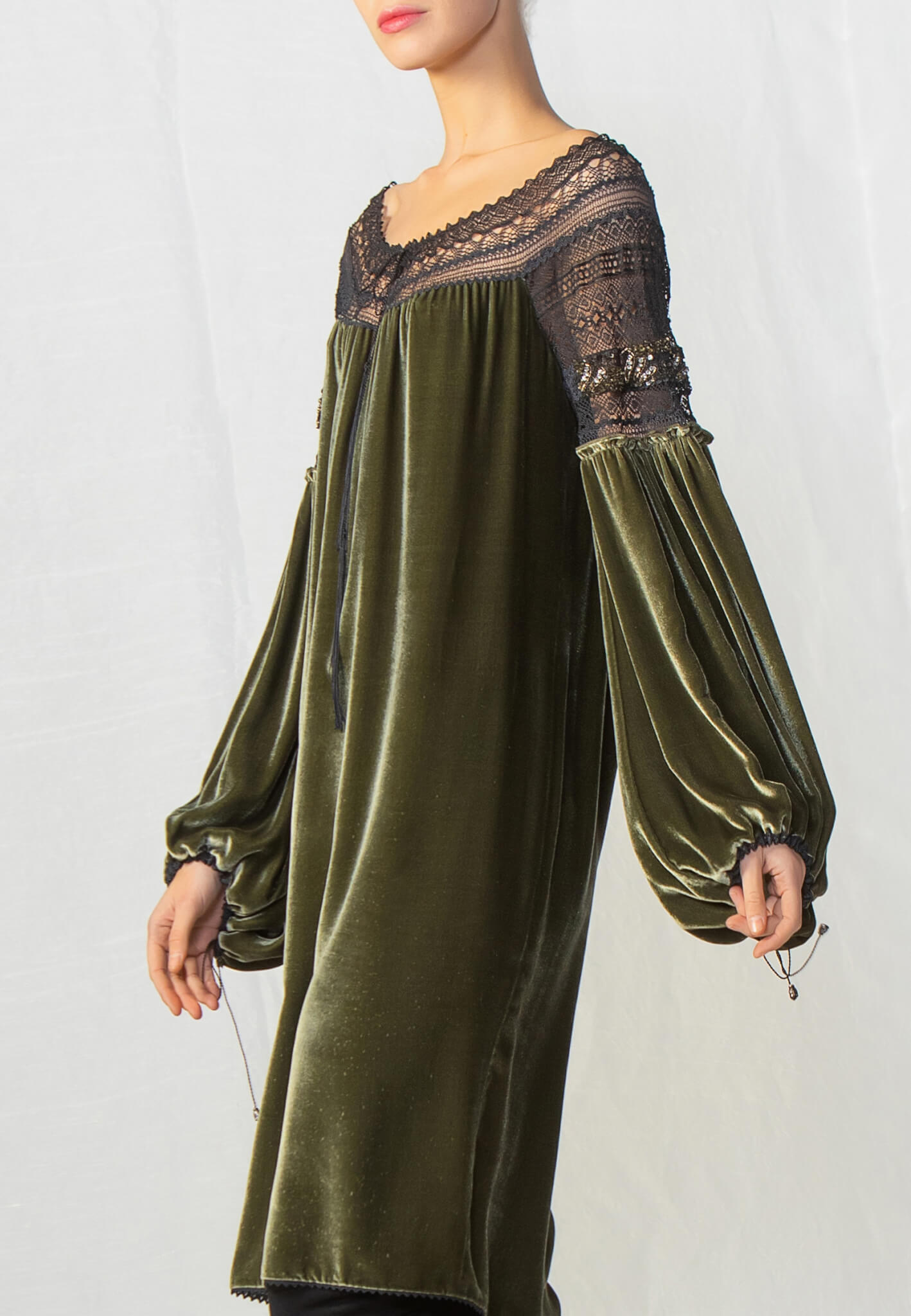 Green velour dress with lace