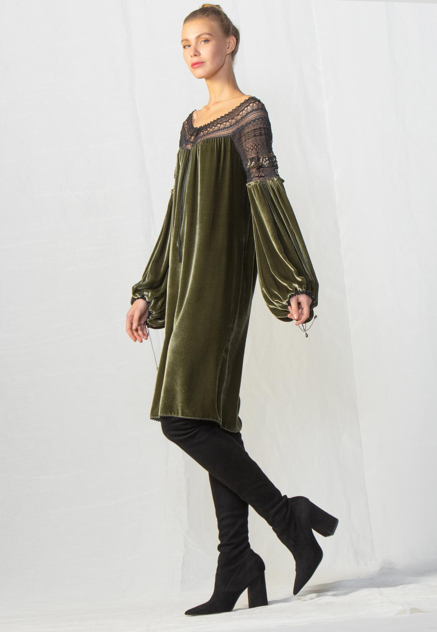 Velour dress with lace and beads