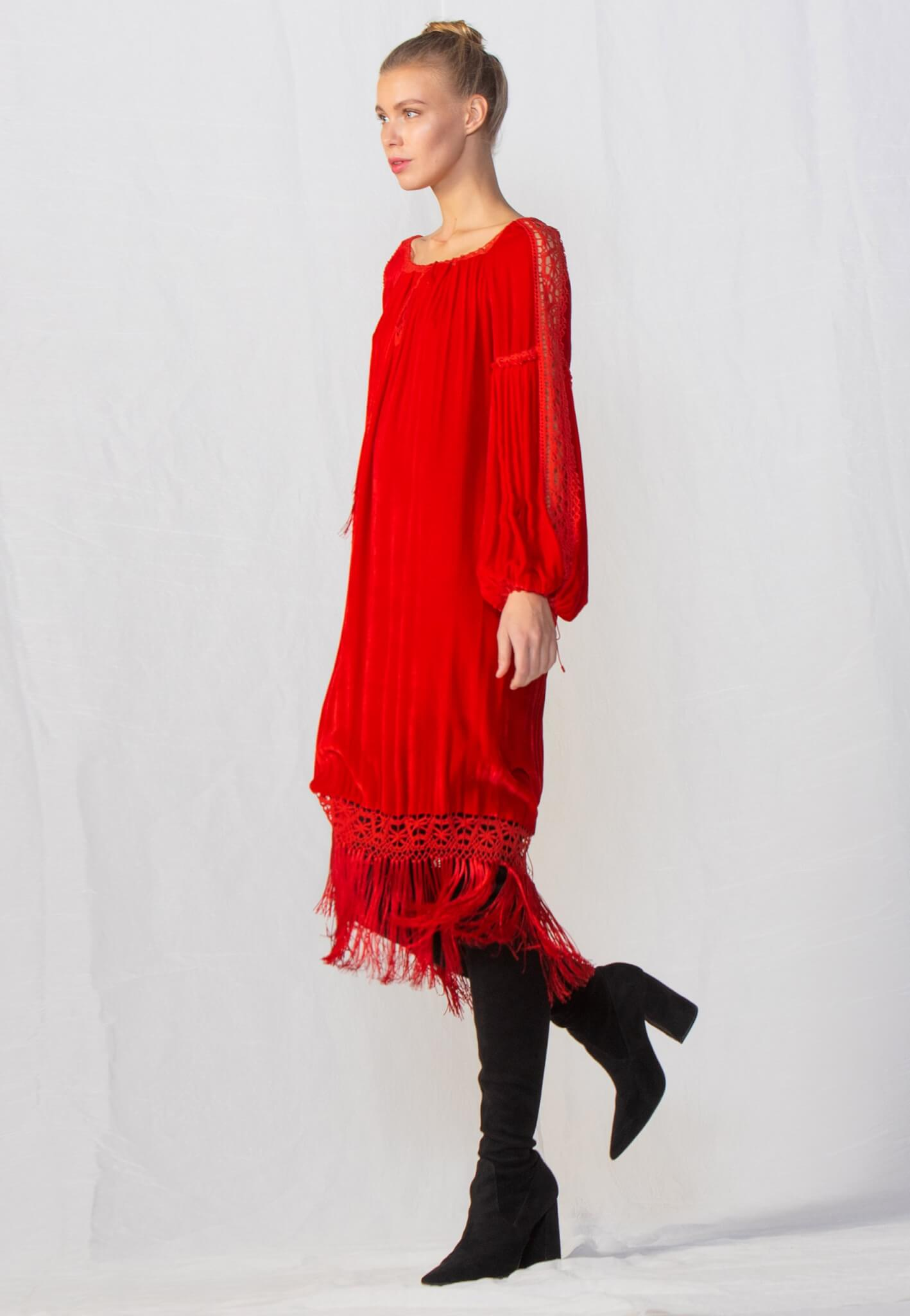 Velour dress with lace and tassels