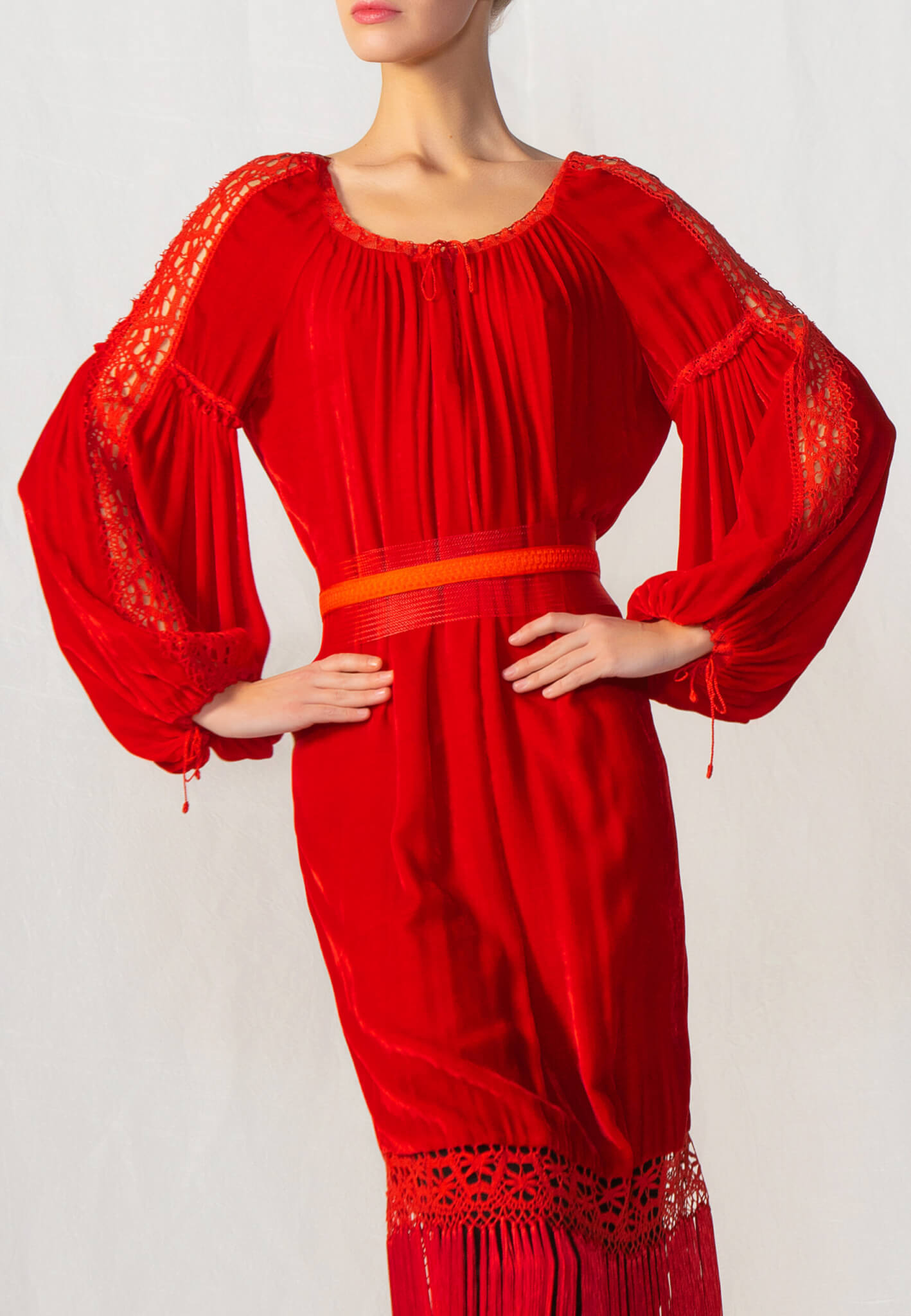 Red velour dress with tassels