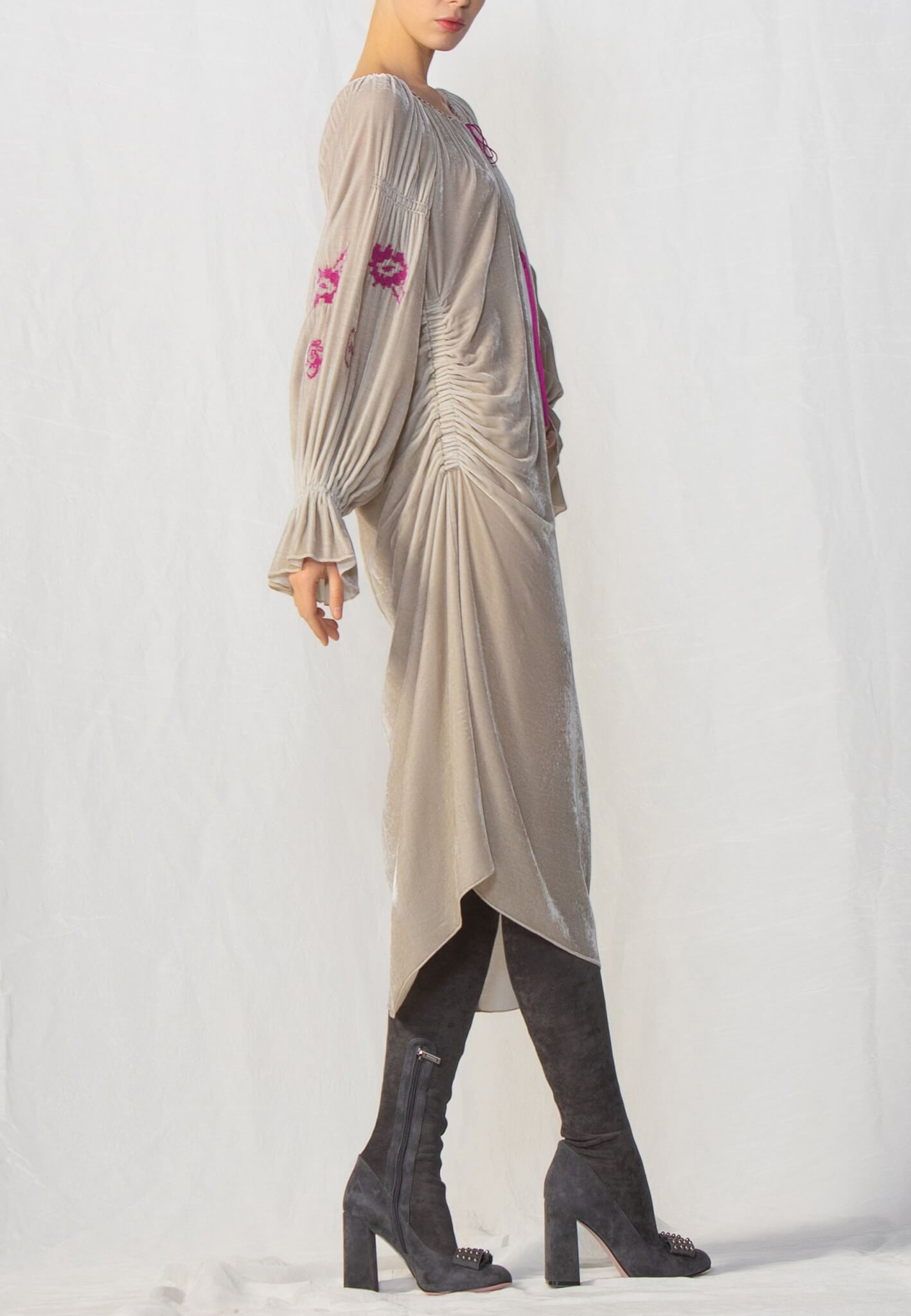 Beige velour dress with embroidery