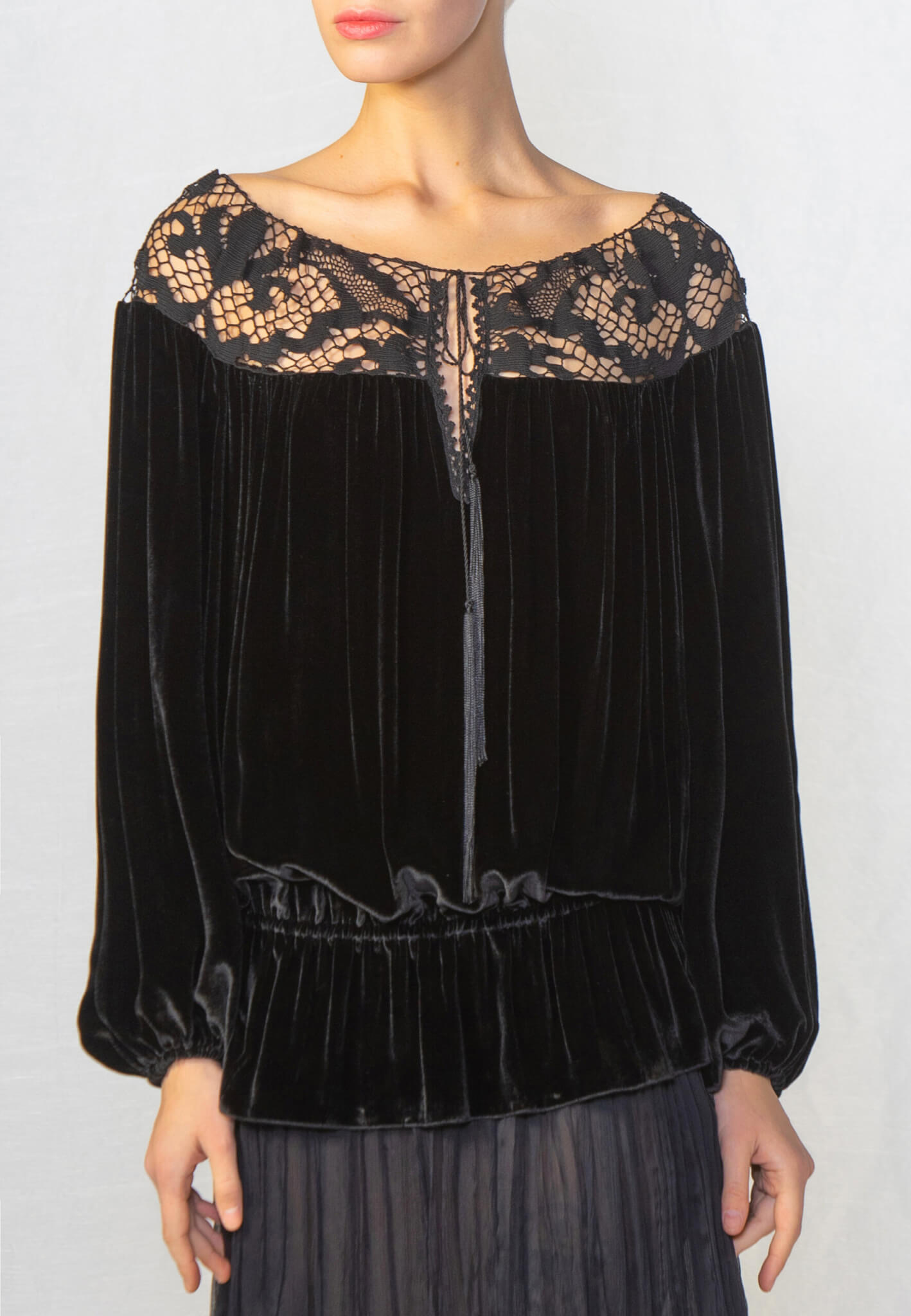 Black velour blouse with lace