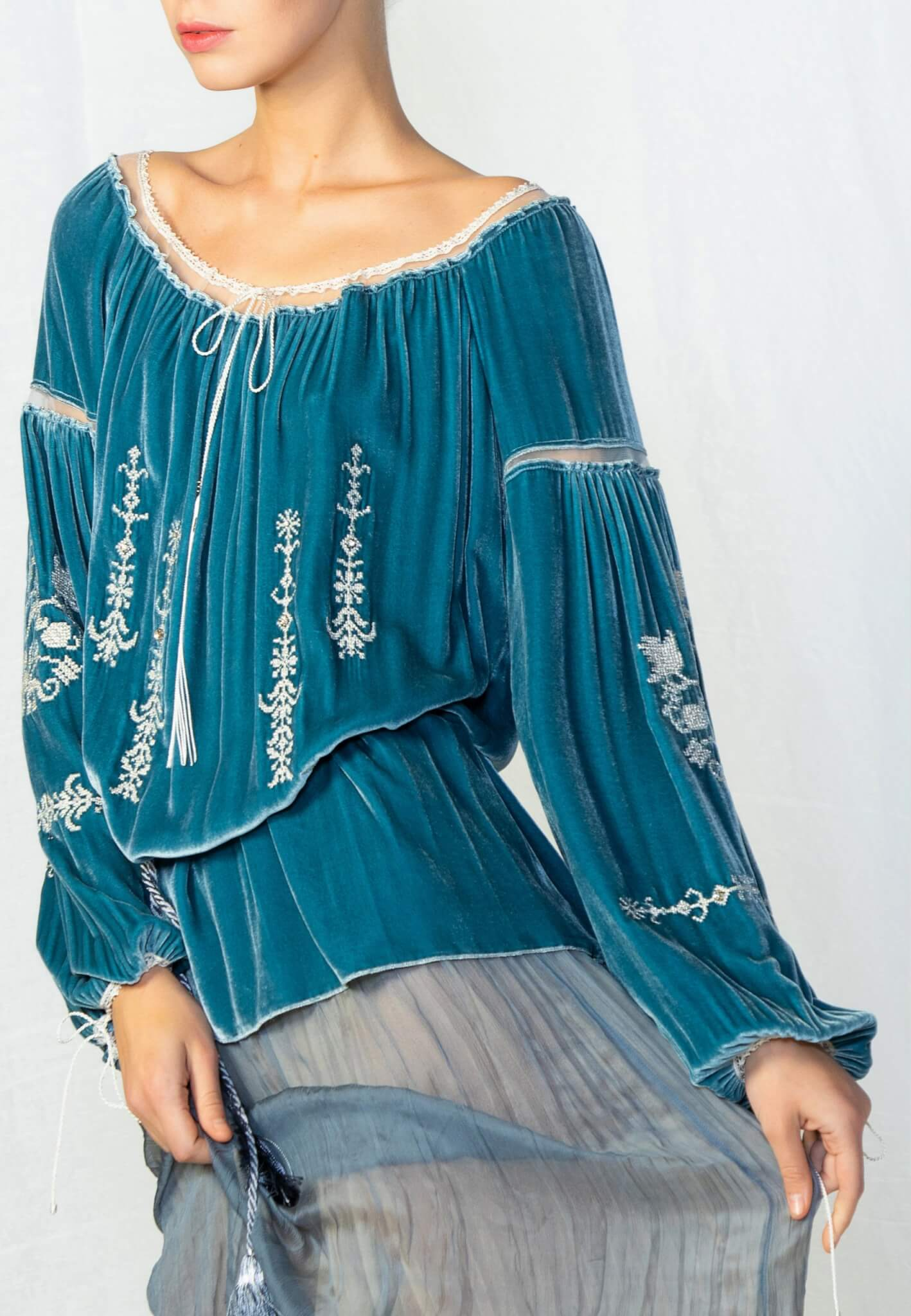 Turquoise velour blouse with embroidery
