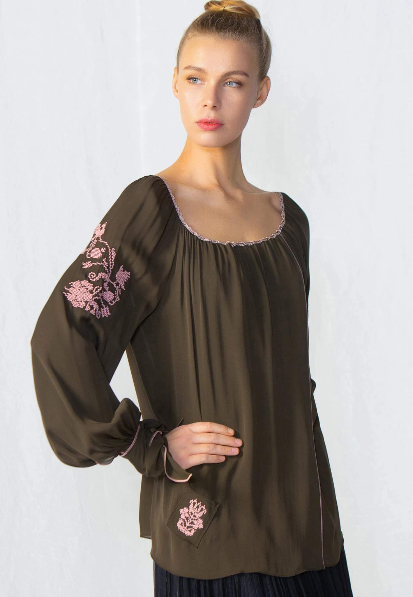 Silk khaki blouse with embroidery