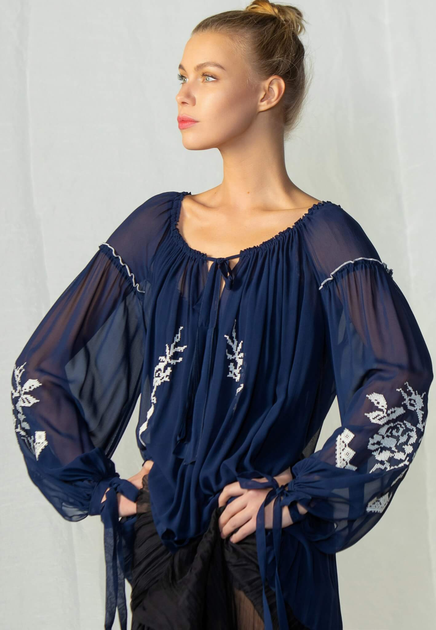 Blue silk blouse with embroidery